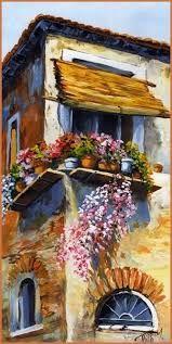 Resultado de imagen para Emerico Toth mediterrán portál City Landscape, Landscape Paintings, Acylic Painting Ideas, Felt Art, Creative Art, Home Art, Watercolor Paintings, Drawings, Windows