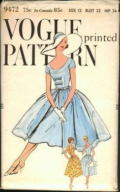 Vintage sewing pattern envelopes: 1950s dresses