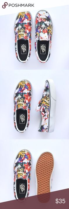 New Cuban Floral Slip-On Never been worn, floral sublimation print on canvas. W/O box. Women's size 7 / Men's size 5.5 Vans Shoes Sneakers