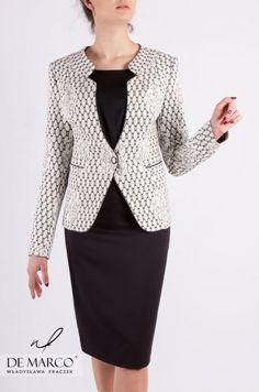 2ff944a8da Żakardowy kostium damski szyty na miarę. Eleganckie ubrania wizytowe w  sklepie De Marco.