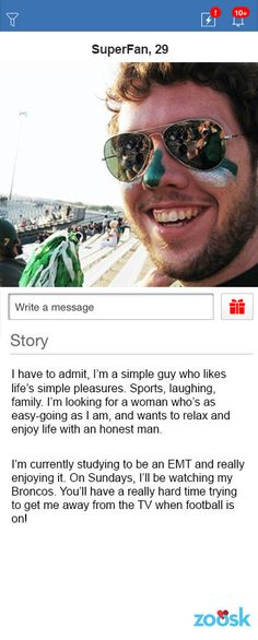 Good male profile for dating site