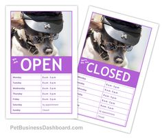 DIY Business Hours Sign - Editable template. Edit on any device online. Print out in minutes. http://www.petbusinessdashboard.com/store/p79/DIY_Business_Hours_Sign.html
