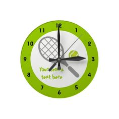 Tennis racket and ball custom wall clocks.