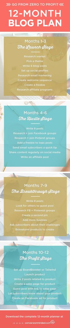 12-Month Blog Plan |  Here's my complete monthly blog planner for bloggers and entrepreneurs, with specific goals for each stage of your blog/business: Launch, Hustle, Breakthrough and Scale. Free printable blog planner included. Click through to see the planner!