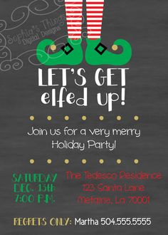 Christmas Party Invitation  Let's Get Elfed Up  by SophiasThings