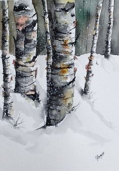 Original Watercolor Painting Winter Birches by pinetreeart on Etsy