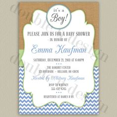 Rustic Chevron Printable Baby Shower Invitation by double u design on Etsy (with color options!)  Printable/DIY