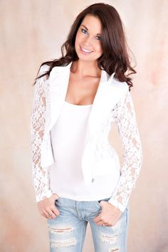 Model height 5'8 wearing a size small Lace blazer with zipper.