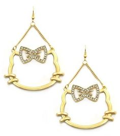 Cute Gold Hello Kitty Cat Earrings with Rhinestones on Bow Dangle Style Statement
