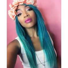 The gorgeous @ashhhdolly stuns in #AtomicTurquoise and perfectly accessorizes with an adorable #flowercrown!
