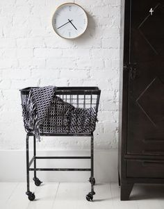 Downtown Basket on Wheels - modern - hampers - Rose & Grey Decor, Home Accessories, Industrial Hampers, Interior, Interior Inspiration, Home, Laundry Hamper, Laundry Basket On Wheels, House Interior