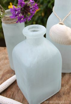 DIY Sea Glass Vases - so easy and looks just like Pottery Barns!