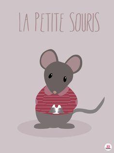 Affiche déco bébé petite souris Disponible sur www.boum-badaboum.fr