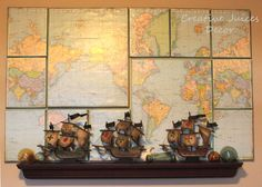 Creative Juices Decor: It's a Small World Nursery Theme - World Map on Canvas
