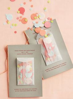 Confetti elopement announcements, so everyone can party too! Maybe sent with mini liquor bottles? ❤️