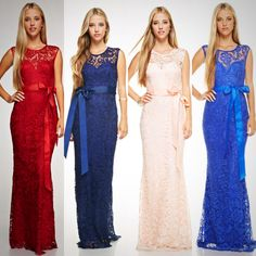 Affordable Lace bow tie long Bridesmaid Dress Burgundy, Royal Blue and Blush