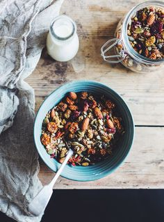 Homemade granola :: 1 cup seeds (pepitas, sunflower), 1/3 cup nuts (almonds, pine nuts), 1/3 cup desiccated coconut, 1-2 tsp cinnamon, 1 tbs chia seeds, 2 tbs coconut oil, 1/3 cup dried fruit (jujubes, goji berries, mulberries) // Mix ingredients except nuts together and spread on a baking sheet. Bake at 200 degrees for about 20-25 minutes. Mix halfway through.