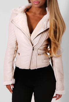 Pink Boutique Sanderson Stone Fur Lined Leatherette Jacket- £60 http://www.pinkboutique.co.uk/sanderson-stone-leatherette-jacket.html #pinkboutique