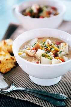 Corn and Potato Chowder with Leeks - Vegan w/ Earth Balance and non-dairy milk Just made this- bet potato soup ever! And for those of you whom have never tasted leeks, it's like a very mild onion and garlic flavored veggie... Hence why most leek recipes don't call for onions or garlic