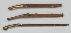 Top: Japan, Wall Gun, 1816, wood, metal.  Middle: Sesshu Tanaka Zengoro (active 19th century), Japan, Wall Gun, 1824, wood, metal.  Bottom: Ashu Oshima Fusanosuke Takaichi (active 19th century), Japan, Standard Gun, Mid-19th century.