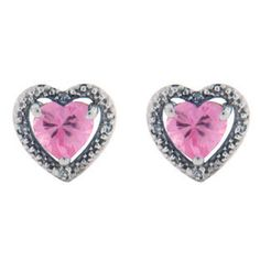 Diamond Heart Shaped Pink Topaz Birthstone Sterling Silver Earrings Available Exclusively at Gemologica.com