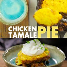 Two delicious foods collide to create this Chicken Tamale Pie! Bake in a cast-iron skillet and serve with sour cream.