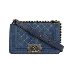 Fashion 2000-2020; Chanel Blue Denim Mini Boy Bag SHW   From a collection of rare vintage crossbody bags and messenger bags at https://www.1stdibs.com/fashion/handbags-purses-bags/crossbody-bags-messenger-bags/