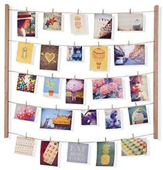 Umbra Hangit Photo Display - DIY Picture Frames Collage Set Includes Picture Hanging Wire Twine Cords, Natural Wood Wall Mounts and Clothespin Clips for Hanging Photos, Prints and Artwork (Natural) * See this great product. (This is an affiliate link) Collage Des Photos, Collage Picture Frames, Wall Collage, Wall Art, Cadre Photo Diy, Contemporary Picture Frames, Exposition Photo, Diy Artwork, Nature Artwork