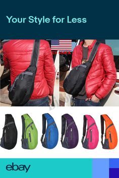 Mens Sport Shoulder Backpack Cross Body Bag Outdoor Hiking Sling Bag Chest  Pack 4cbc77e9e4be9