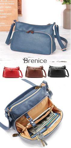 0b5632b59262  US  35.99 Women Multi-pockets Solid PU Leather Crossbody Bag Shoulder Bag
