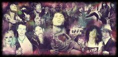 Collage de rockeros clásicos como Axl Rose, Ozzy, Steven Tyler, Jim Morrison, Janis Joplin, Mick Jagger o Sid Vicious #Rock
