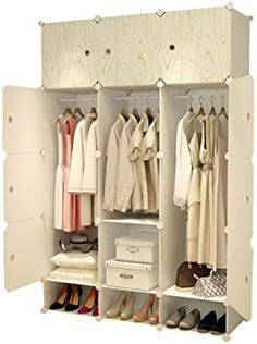 Jurass Resin Portable Closet Hanging Clothes, Combination Closet, Space Saving Modular Cabinets, Ideal Storage Cabinets Cube Wardrobe Books