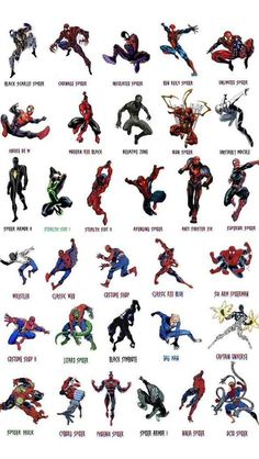 matthewajl: Thirty two variations of Spider Man.