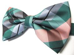 Mens Bowtie. Green Peach Plaid Bowtie With Matching by TieObsessed