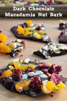 dark chocolate macadamia nut bark from @Katie Hrubec Schmeltzer Jasiewicz
