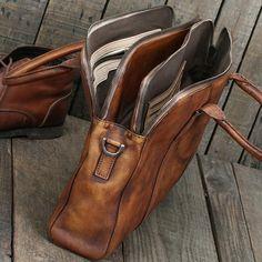 Handmade Vintage Brown Leather Briefcase Men's Business Bag Handbag Fashion Laptop Bag 14119 - LISABAG