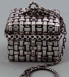 Rare Gorham Basket Weave Tea Ball    Very rare Gorham sterling rectangular basket weave tea ball with hinged lid