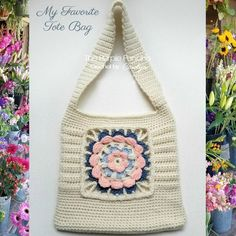 My Favorite Tote Bag is just that! It's one of my favorite bags to make and to carry. It's a medium size bag and can be lined or left as is. This features a modern flower granny square center, with … Continue reading → Bag Crochet, Crochet Purse Patterns, Crochet Shell Stitch, Crochet Clutch, Single Crochet Stitch, Crochet Handbags, Crochet Purses, Free Crochet, Crochet Granny
