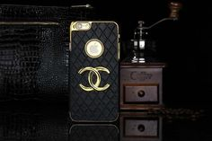 Chanel iphone 6 Round Hold Hard Back Cases Covers Black Free Shipping - Deluxeiphone6case.com