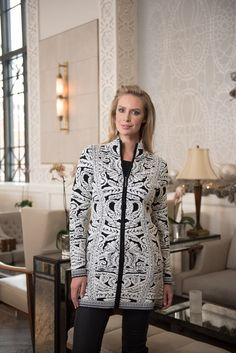 Our Piéce de Résistance! Dia is a timeless black and white ornate puff jacquard full zip, car coat length sweater. Instantly adds style and elegance to your fal