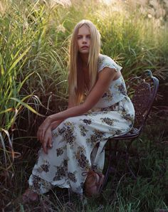 Marloes poses in floral print maxi dress for Joie spring summer 2016 campaign