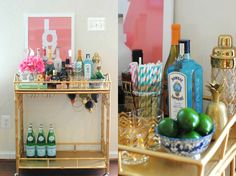 Bar Cart Bling The preferred bar cart color this year hands-down is GOLD. Take a tip from Eat Yourself Skinny and add beautiful gold accessories when styling your cart. Notice how the ampersand, gold chevron glasses, little pineapple, and ornate cocktail shaker compliment the gold labels on the bottles? Using metallics in small accessories pulls the look together to create a gorgeous gold bling bar cart!