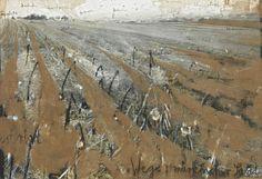 colin-vian:  Anselm Kiefer. Paths Brandenburg Sand, 1980 Acrylic and sand on photograph on burlap, 255 x 360cm