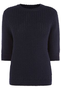 This heavy-weight knitted jumper features a round neck, cropped sleeves, regular fit and basket weave knit. Length of jumper, from shoulder seam to hem, approx. Height of model shown: 10 Model wears: UK size Main: Cotton Jumper, Men Sweater, Model Show, Ss 15, Warehouse, Shopping Bag, Turtle Neck, Stitch, Knitting