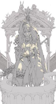 ArtStation - girl, Ham Sung-Choul(braveking) Art And Illustration, Fantasy Kunst, Fantasy Art, Manga Art, Anime Art, Art Sketches, Art Drawings, Concept Art Landscape, Poses References
