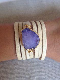 Druzy Wrap Bracelet- purple Druzzy edged in gold