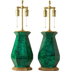 Pair of malachite lamps | From a unique collection of antique and modern table lamps at https://www.1stdibs.com/furniture/lighting/table-lamps/