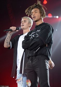 Never Say Never again: Justin Bieber teamed up with Jaden Smith on stage in New York on Tu...