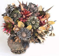 Folly shell bouquet  self made shell flowers , with fabric flowers    design and creation Linda Pastorino