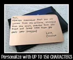 Copper Wallet Insert Card - Personalized Letters Numbers Hand Stamped - UP TO 150 Characters - Husband Boyfriend 7 Seven Year Anniversary on Etsy, $39.13 AUD